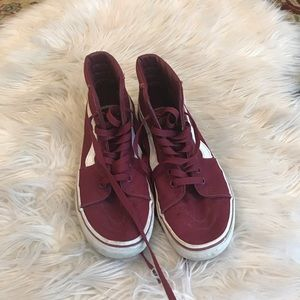 Vans burgundy women's 6.5; men's 5